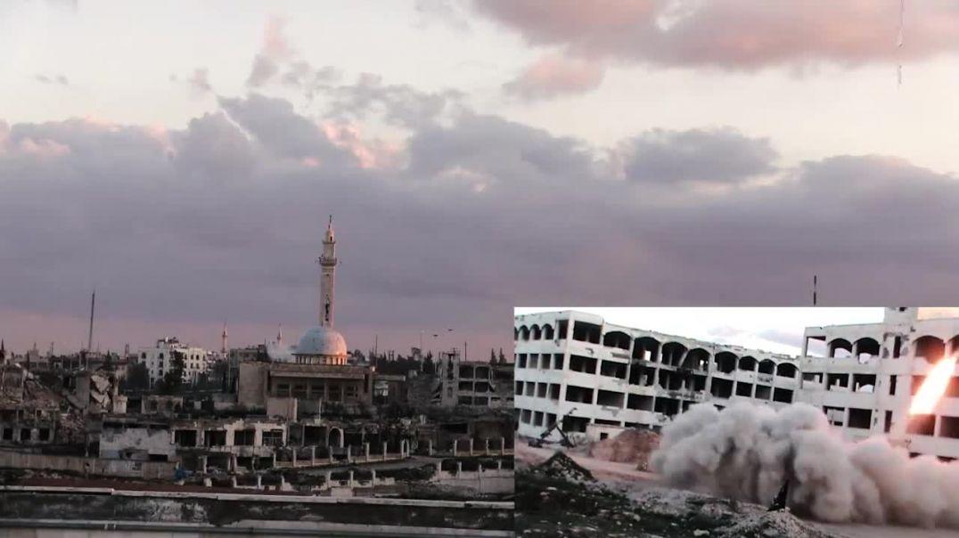 Шам. Алеппо. Ракетный обстрел и подрыв штаба разведки ВВС кафиров в Лерамоне, март 2015 года